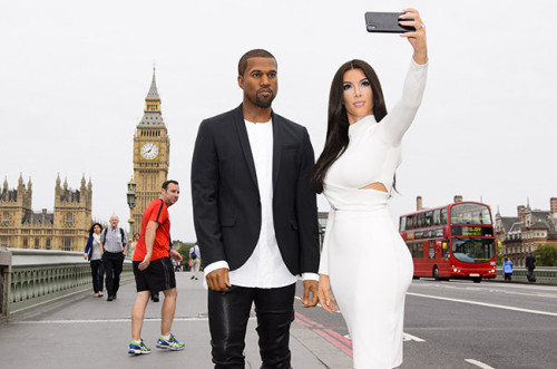Kanye West and Kim Kardashian Wax Figures Pose for Selfies in London