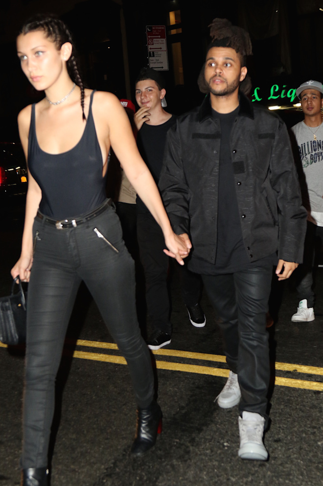 Bella Hadid and new boyfriend The Weekend were spotted leaving Up & Down nightclub after hanging with Justin Bieber, Rihanna, and Travis Scott Pictured: Bella Hadid, The Weekend Ref: SPL1120302  090915   Picture by: BlayzenPhotos / Splash News Splash News and Pictures Los Angeles:310-821-2666 New York:212-619-2666 London:870-934-2666 photodesk@splashnews.com
