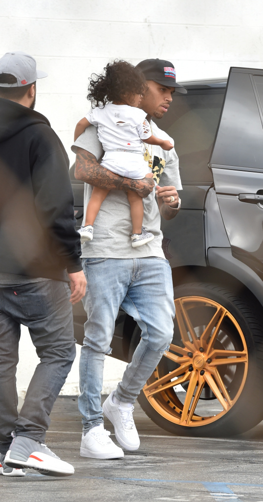 Chris Brown And his Daughter Royalty Celebrate Tygs's Son Birthday Party at Racer's Edge in Burbank Pictured: Chris Brown And Royalty Ref: SPL1153651 161015 Picture by: Photographer Group / Splash News Splash News and Pictures Los Angeles: 310-821-2666 New York: 212-619-2666 London: 870-934-2666 photodesk@splashnews.com