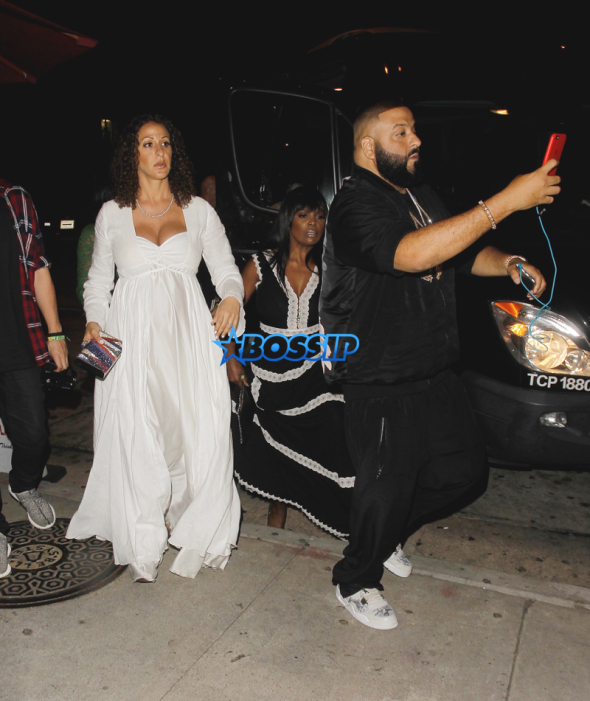 DJ Khaled and his pregnant girlfriend Nicole Tuck arrive at 'Craig's' restaurant in Los Angeles. DJ Khaled left his pregnant wife's side while arriving to go do a snapchat video of the paparazzi photographing him and his wife.  Pictured: Nicole Tuck, DJ Khaled Ref: SPL1309642  270616   Picture by: Bello/Splash Splash News and Pictures Los Angeles:310-821-2666 New York:212-619-2666 London:870-934-2666 photodesk@splashnews.com