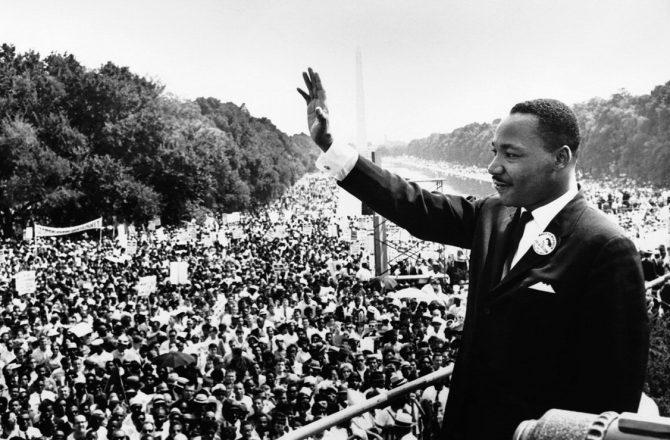 Martin Luther King lors de la marche de Washington
