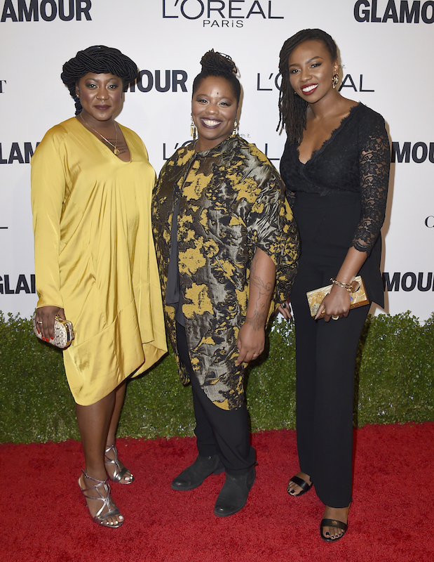 Alicia Garza, from left, Patrisse Cullors and Opal Tometi, co-founders of the Black Lives Matter movement, arrive at the Glamour Women of the Year Awards at NeueHouse Hollywood on Monday, Nov. 14, 2016, in Los Angeles. (Photo by Jordan Strauss/Invision/AP)
