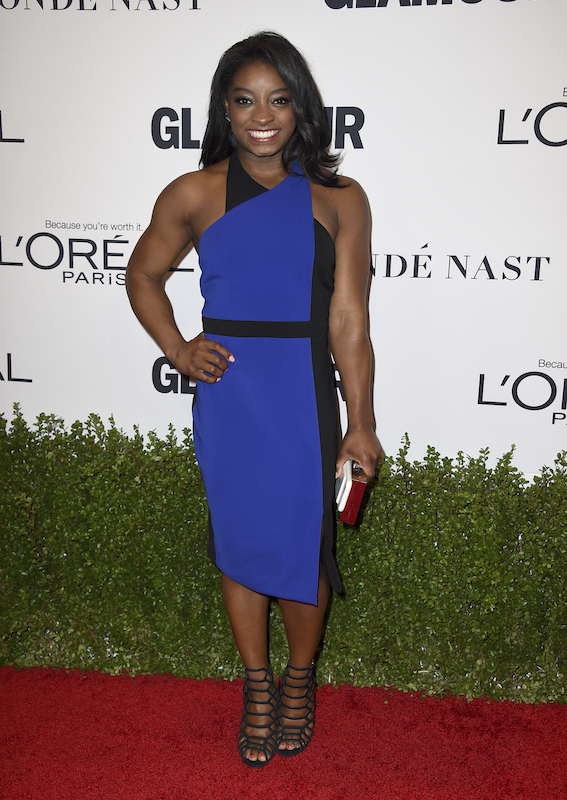 Simone Biles arrives at the Glamour Women of the Year Awards at NeueHouse Hollywood on Monday, Nov. 14, 2016, in Los Angeles. (Photo by Jordan Strauss/Invision/AP)